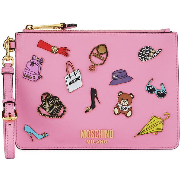 Moschino Fashion Pins Zip-Top Flat Clutch Bag, Pink/Multi (£500) ❤ liked on Polyvore featuring bags, handbags, clutches, flat purse, moschino purse, moschino, moschino handbags and pink handbags