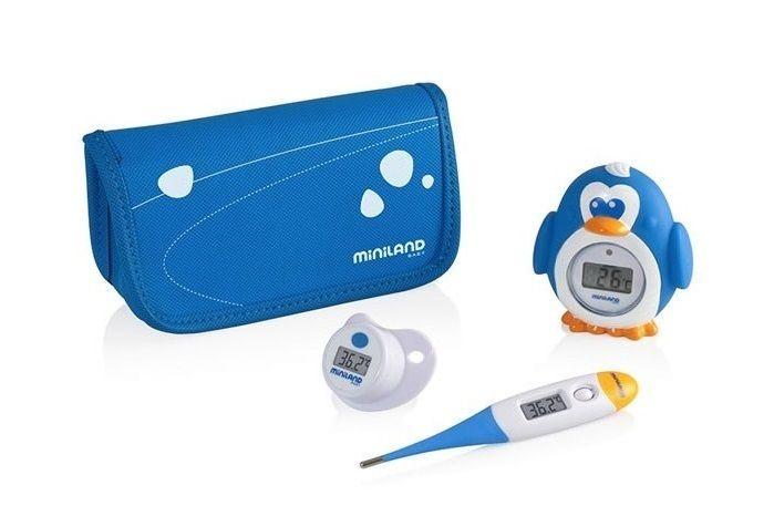 Conjunto de termómetros  para el cuidado del bebé. Incluye un práctico estuche con cremallera para su mejor conservación y transporte.  Termómetro corporal Termómetro de baño Termómetro chupete Apagado automático para una mayor duración de las pilas