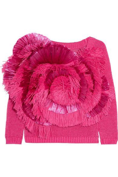 DELPOZO | Cropped fringed raffia and cotton sweater | NET-A-PORTER.COM