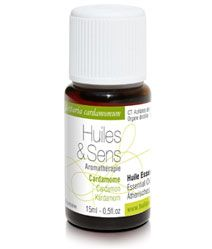 huile essentielle cardamome (bio) de chez Huiles & Sens Aromatherapie (http://www.huiles-et-sens.com/huile-essentielle-cardamome-bio/)