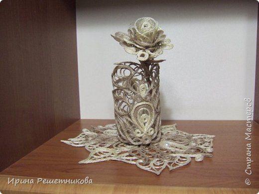 Приветствую рукодельниц! Сегодня у меня наборчик-трио: вазочка,розочка и салфетка. фото 1