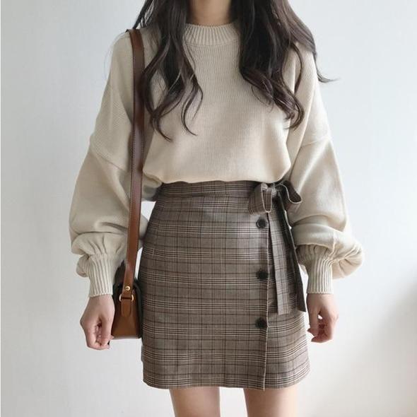 Sweater Girls 2018 Autumn Winter Korean Type Classic Lantern Sleeve Knitted Pulloverwwetoro