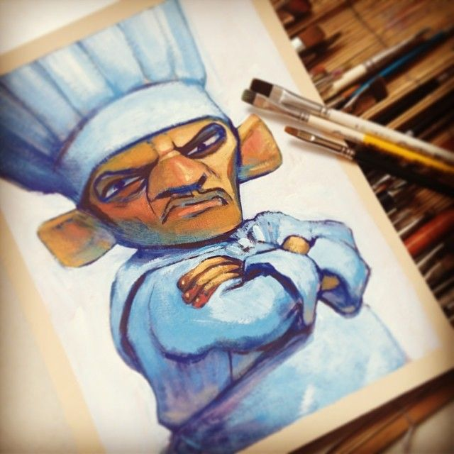 "439 Likes, 7 Comments - Davi Calil (@davicalil) on Instagram: ""Demonstração finalizada! Personagem do filme Ratatouille (Pixar) pintado em guache durante a última…"""