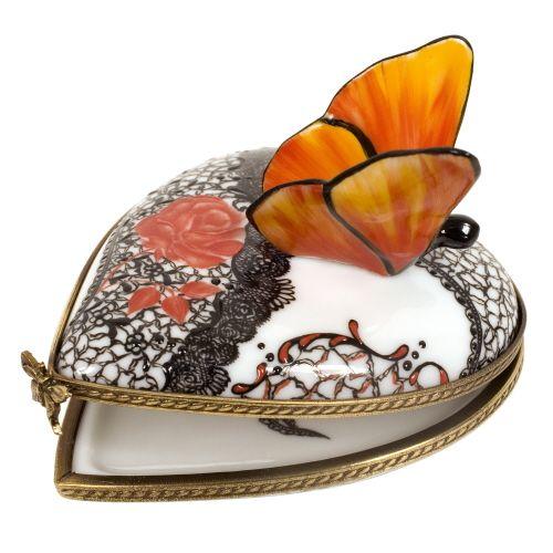 boite à pilules en porcelaine de Limoges peinte à la main
