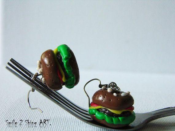 Hamburger earringsCheeseburger earringsburger by Smile2ShineArt