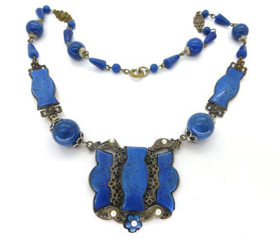 Vintage Czech Lapis Blue Glass Black Enamel Floral Bead