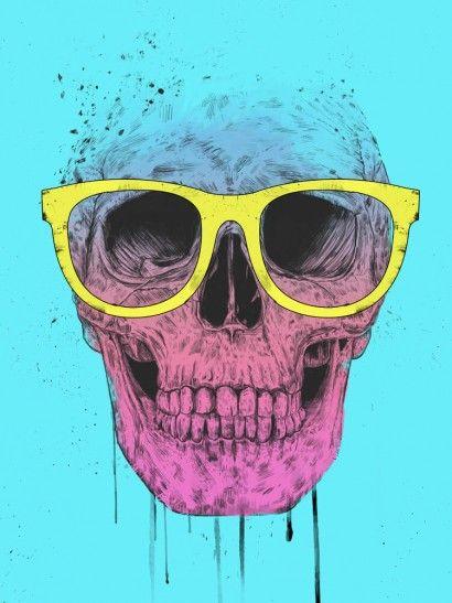 Pop Art Skull With Glasses - Balazs Solti | Crie seu quadro com essa ilustração…