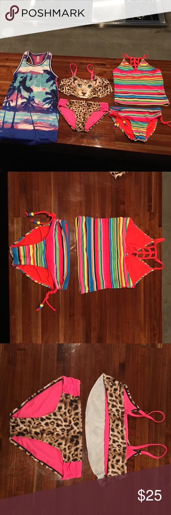 Justice swimsuits and coverup Leopard print bikini and multi stripe bikini with cute back detail and also a racer back cover up all from justice size 10 Justice Swim Bikinis
