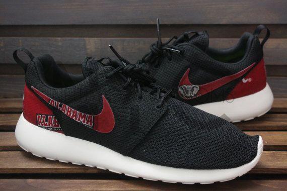 Nike Roshe Run Black Alabama Crimson Tide Custom by NYCustoms
