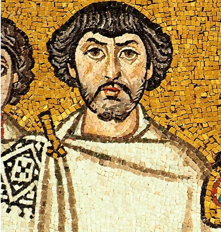 Basilica di San Vitale, Ravenna. I Mosaici bizantini, 546-547. Il periodo di Giustiniano. Il pannello di Giustiniano. Velisario?