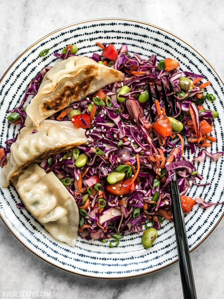 This simple Sesame Slaw makes a great side dish, or a bed for other items like gyoza, fried tofu, or grilled chicken. BudgetBytes.com