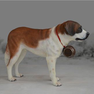 """Life size St. Bernard dog statue stands over 15 inches high.  This realistic portrait of the St. Bernard stands poised to please.  Made of chip resistant fiberglass for indoor or outdoor use.  Yab Designs Collection Dimensions:  62""""L 19.5""""W 40.6""""H Item # 49052 Price: $599.00"""