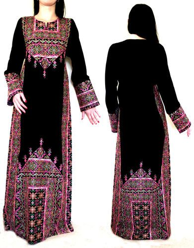 BLACK pink gree Bedouin Palestinian traditional Dress-Handmade Embroidery abaya