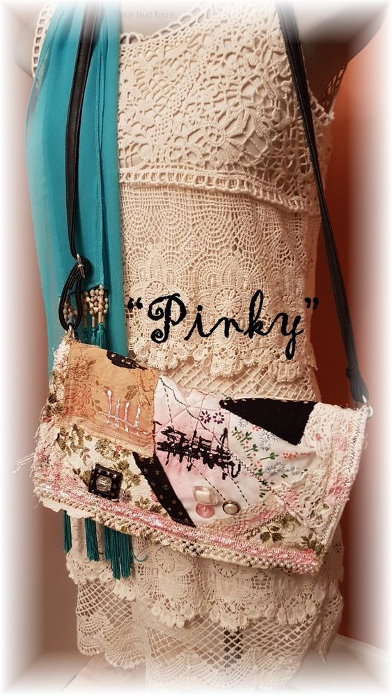 "Hand Made BoHo Bohemian Handbag Original Signed Numbered FAB*BOHO ""PINKY` #006 #FABBOHO #ShoulderBag"