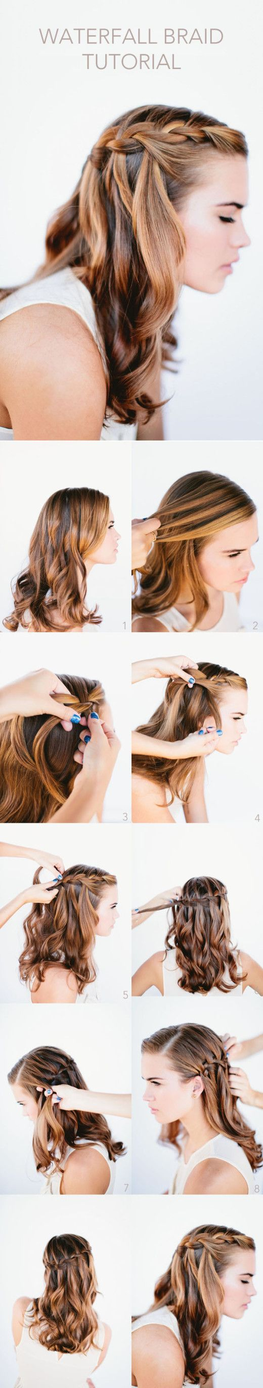 Waterfall Braid Wedding Hairstyles for Long Hair -- looks so simple....