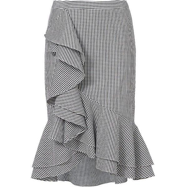 Intermix Slyvia Ruffle Front Gingham Skirt ($265) ❤ liked on Polyvore featuring skirts, fitted skirts, gingham skirt, intermix skirt and trumpet skirt