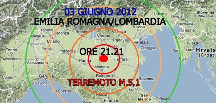 03 GIUGNO 2012-ORE 21.21  EMILIA-CONFINE LOMBARDIA  TERREMOTO M.5,1  PROFONDITA' IPOCENTRO: 9,2 KM  EPICENTRO TRA NOVI E CONCORDIA (MO)    SCOSSA AVVERTITA IN TUTTO IL NORD ITALIA, TOSCANA,UMBRIA E MARCHE