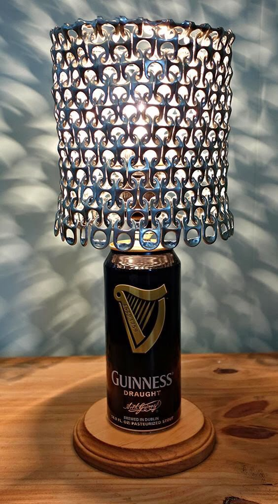Use hashtag #saturdayrecycling for #greenideas They could inspire someone #upcycled #Guinness draught beer can #lamp www.etsy.com/shop/LicenseToCraft @licensetocraft #sodacantabs #cantabs #ecofriendly #handmade #DIY #art #artist #design #designer #interiordesign #greenideas #Gabriella #Ruggieri selection