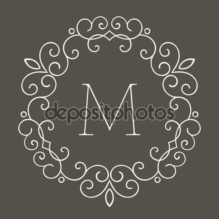 Elegantní retro lineart květinový rámeček s písmenem M. Monogram identitu, obchodní značka. Šablona návrhu pro banner, karta, pozvánky, popisek, emblém atd. Vektorové ilustrace