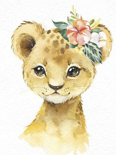 Africa Zebra Elephant Lion Watercolor little animals clipart