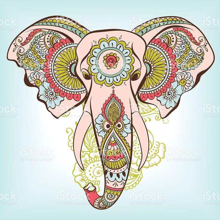 Vector indian decorative elephant on the henna indian ornaments en 2019 lo mio dessin - Elephant indien dessin ...