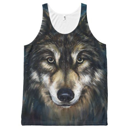 Artistic Wolf Face All-Over Print Tank Top - tap, personalize, buy right now!