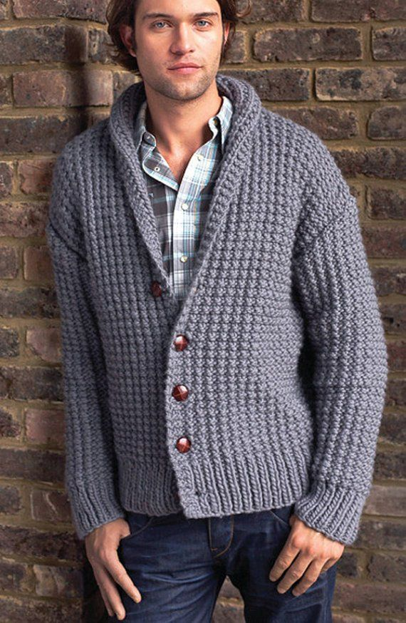 Men's hand knit cardigan 25A
