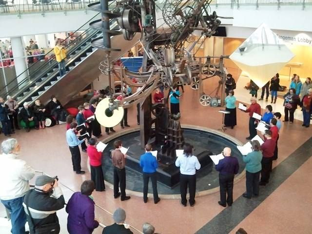 Voces Novae chamber choir performing at Tinguely's Chaos II in Columbus