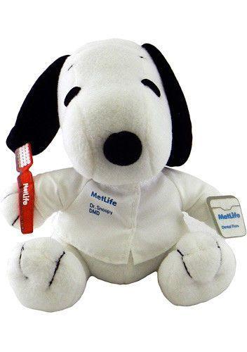 METLIFE Official SNOOPY Dentist  PLUSH DOG NIB PEANUTS TOY
