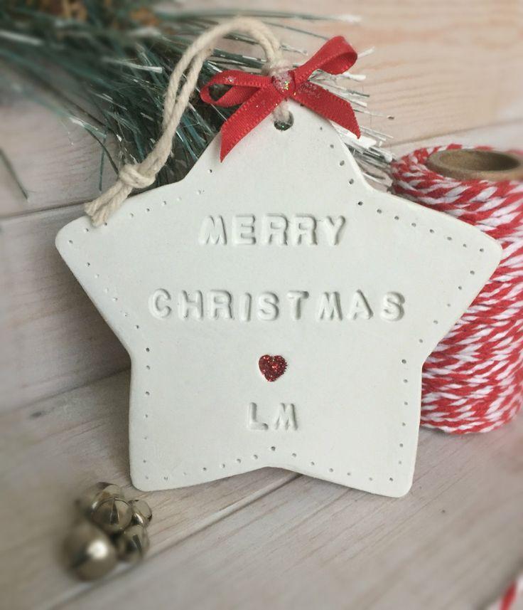 Personalised Christmas Gift, baby's 1st Christmas, Secret Santa, hanging christmas decoration by LittleMoosSoaps on Etsy https://www.etsy.com/uk/listing/489553393/personalised-christmas-gift-babys-1st