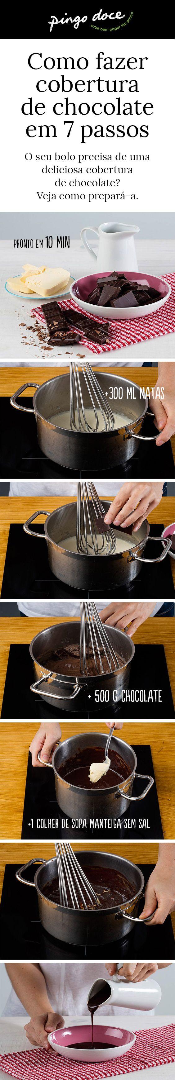 Aprenda como se faz esta cobertura de chocolate, muito fácil, em apenas 7 passos.
