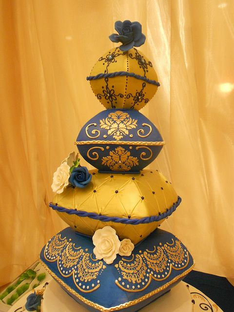 Gold & Blue Wedding cake pillows (1003) Fondant flowers, gold piping, damask design, and rope borders