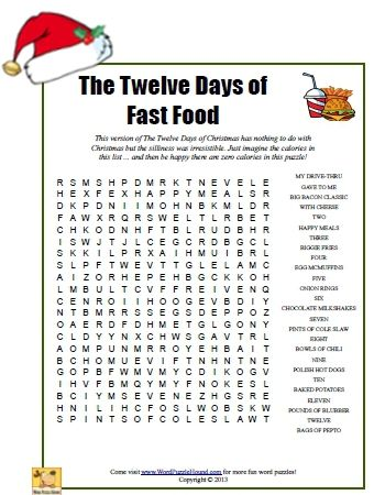 The Twelve Days Of Fast Food Word Search Christmas