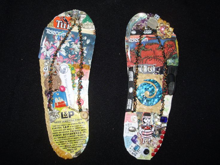 Another kiwiana pair of decorative jandals using bitsnpieces from NZ