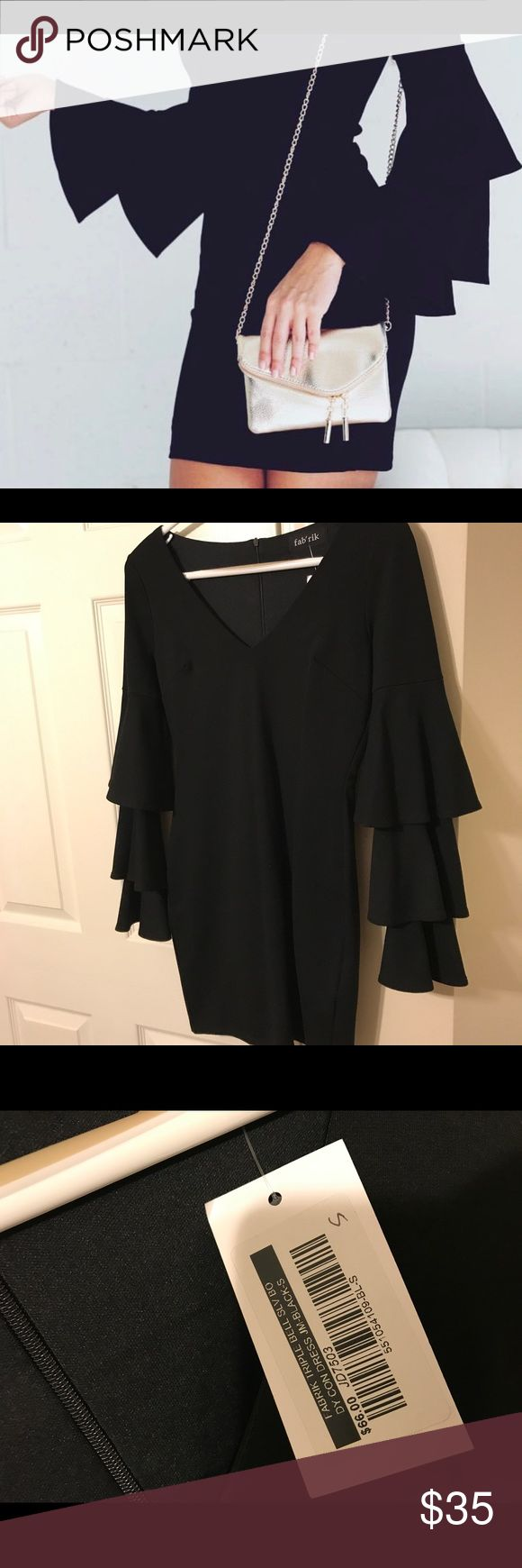Black bell sleeve dress The perfect little black dress for a girls weekend, date night or evening wedding! Super comfortable and flattering. Zipper back. Never worn. New with tags! fabrik Dresses Mini