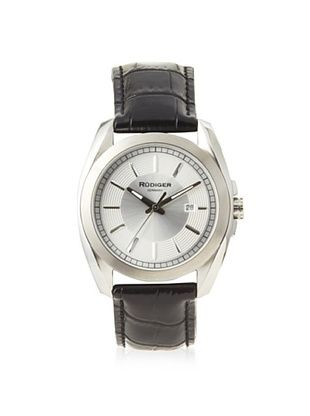 77% OFF Rudiger Men's R1001-04-001L Dresden Black Leather Silver Dial Watch