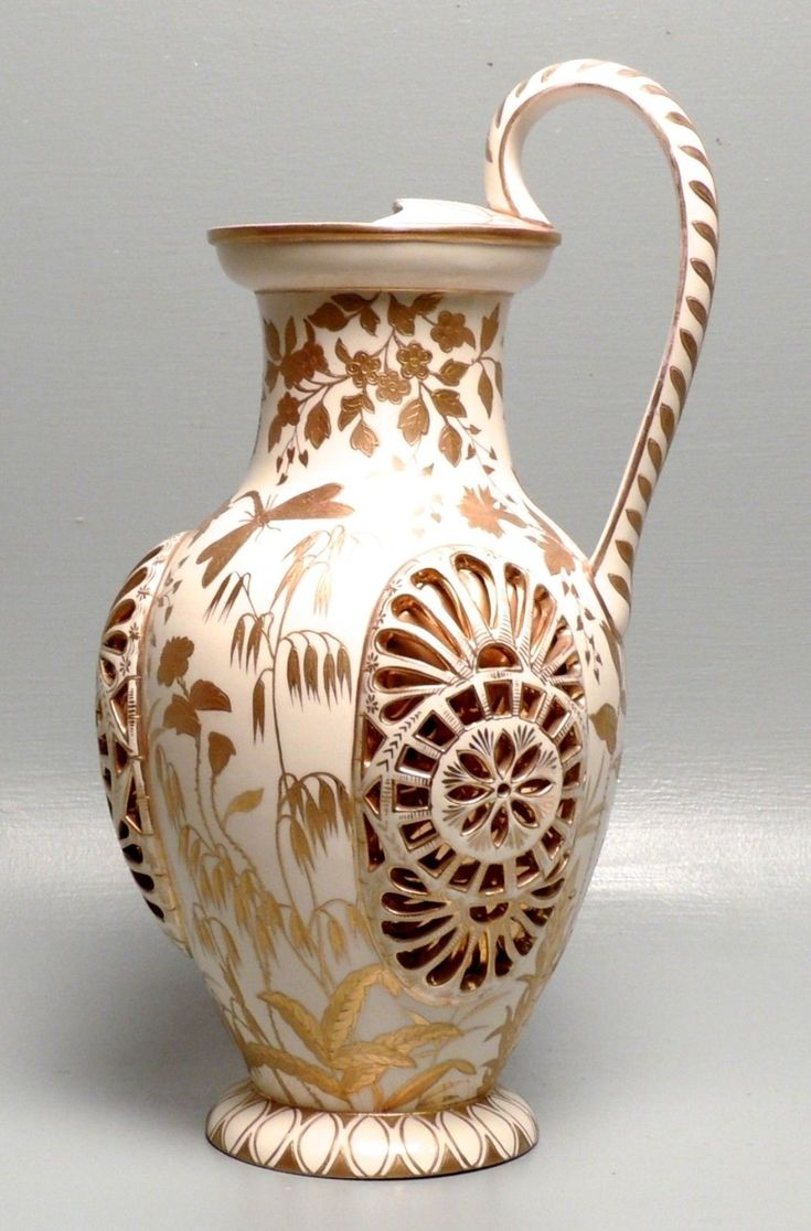 Antique Gilt Fischer Budapest Reticulated Porcelain Ewer