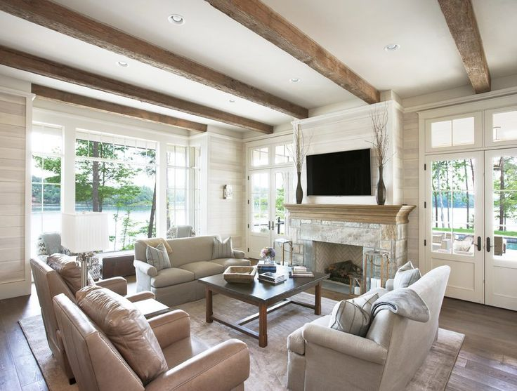 Fireplace beams living room traditional with white oak - Beams in living room ...
