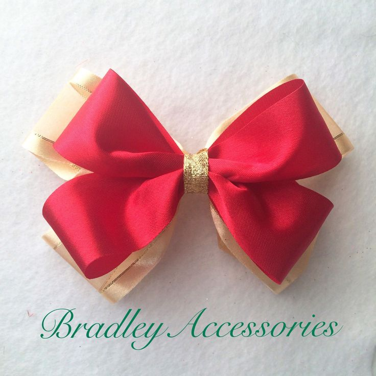 Red Gold Hair Bow, Christmas Hair Tie, Christmas Headband, Hair Clip, Baby Toddler Child Teen, Hair Accessories, Holiday Hair Bow by BradleyAccessories on Etsy https://www.etsy.com/listing/256864290/red-gold-hair-bow-christmas-hair-tie