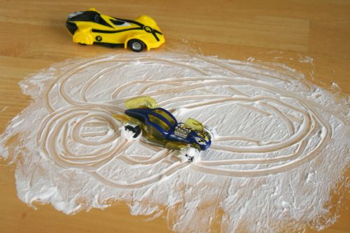 Shaving Cream Cars - This is an easy table time activity. Squirt a quarter size of shaving cream onto the table in front of each child. Give them one or two cars to cruise around in the shaving cream with. You can use a table cloth, dinner mats, or just right on top of your table.