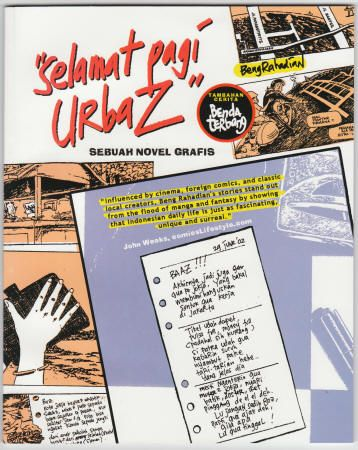 """Indonesia: Selamat Pagi Urbaz Graphic Novel, NM, 2004, 88 pages, Sebuah Novel Grafis (roughly 7 x 9 inch), squarebound, heavy cardstock covers, Stories and Art by Beng Rahadian, Published by Terrant Books, B&W. This graphic novel appears to be telling slice of life stories from Indonesia. """"Benda Terbang"""" appears to be a secondary story inside. Comes in the original packaging bag, $15"""