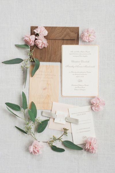 Wood inspired invitations