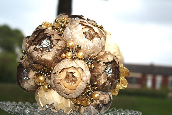 Bridal bouquet QUEEN of THE NILEpure silk by hairbowswonderworld, $450.00