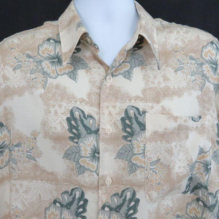Tropical Print Floral L Sage Green Tan Hibiscus Tapa Hawaiian Aloha Shirt #Crossings #Hawaiian