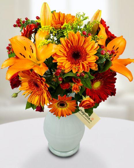 Bouquet of orange gerberas and lilies