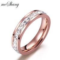 18k rose gold full rhinestone diamond ring