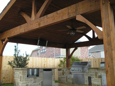 Cheerful Outdoor Wood Patio Covers With Oil Rubbed Bronze Ceiling Fan With  Light Also Kenmore Elite 6 Burner Gas Grill And Ge Compact Undercounter ...