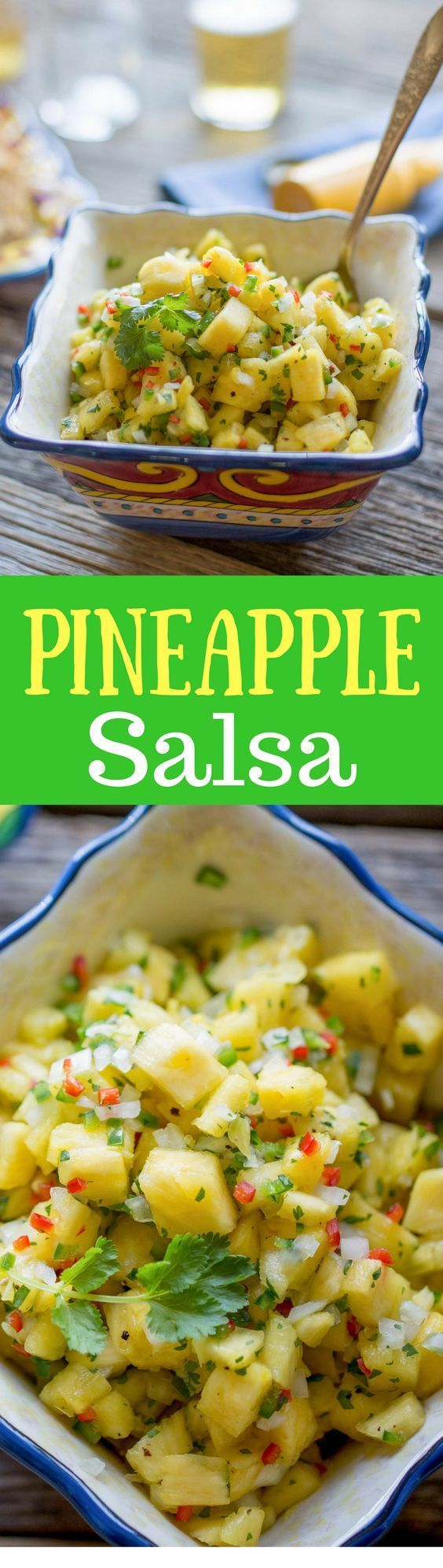 Easy & Fresh Pineapple Salsa - A wonderfully easy salsa that is great on tacos, grilled chicken, burritos or with a bag of chips.  www.savingdessert...