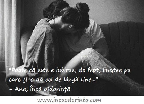 """""""Poate că asta e iubirea, de fapt, liniştea pe care ţi-o dă cel de lângă tine, siguranţa şi umărul oferit la nevoie. Dorinţa ta de a-l face fericit, de a-i vedea surâsul în fiecare moment."""" - Ana, Încă o dorință  Citește și tu povestea Anei.  Comandă cartea aici: www.incaodorinta.com *Poți descărca primele 3 capitole gratuit!"""