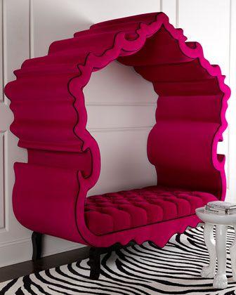 Tufted Framed Bench in Hot Pink